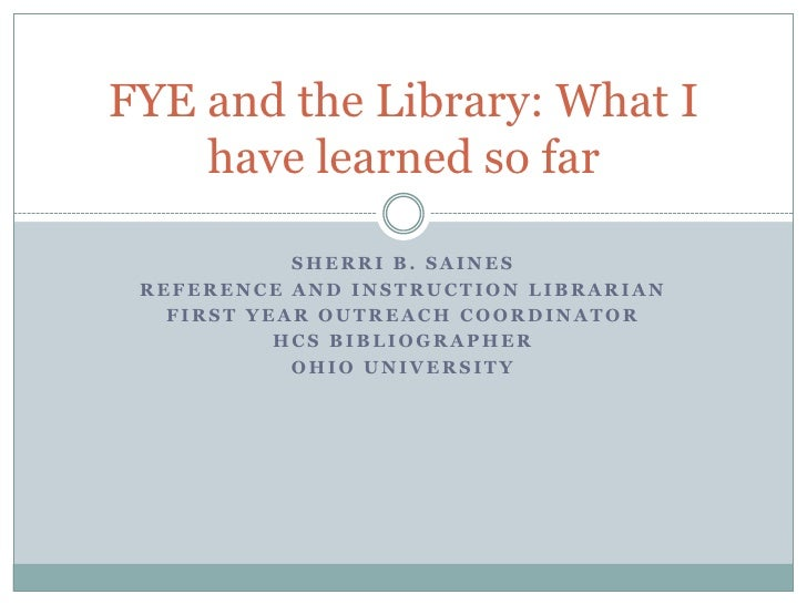 Sherri B. Saines<br />Reference and Instruction Librarian<br />First Year Outreach Coordinator<br />HCS Bibliographer<br /...