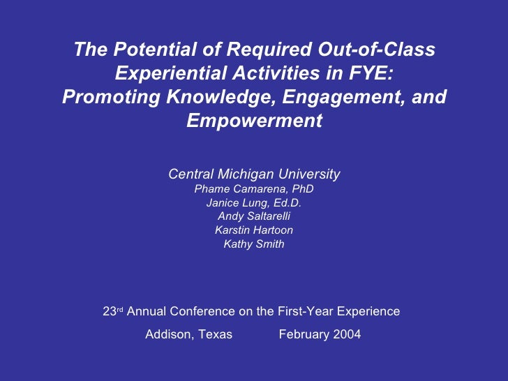 The Potential of Required Out-of-Class Experiential Activities in FYE: Promoting Knowledge, Engagement, and Empowerment Ce...