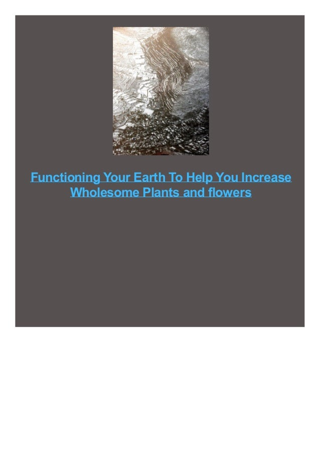 Functioning Your Earth To Help You Increase Wholesome Plants and flowers
