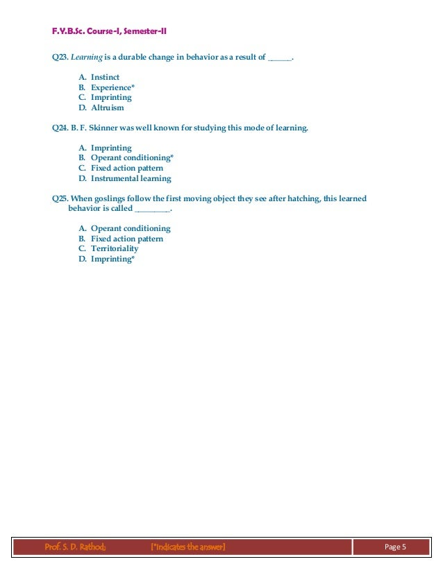 FYBSc Course-I, Semester-II MCQ : Ethology ontogeny of behaviour sude…
