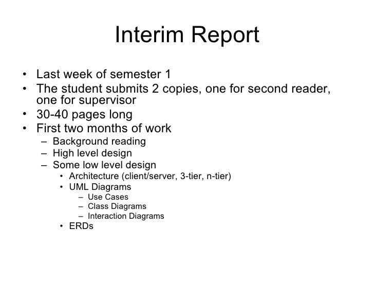 Write interim report dissertation