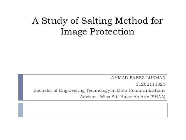 A Study of Salting Method for      Image Protection                                    AHMAD FAEEZ LUKMAN                 ...
