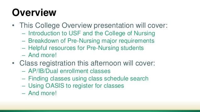 Usf Registrar Calendar.Pre Nursing Orientation College Overview 2018