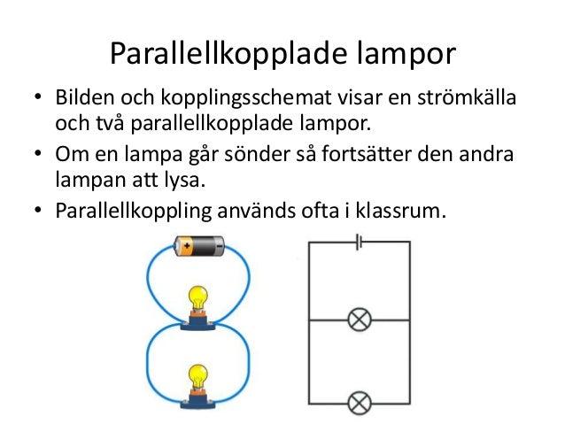 Parallellkopplade lampor • Bilden och kopplingsschemat visar en strömkälla och två parallellkopplade lampor. • Om en lampa...