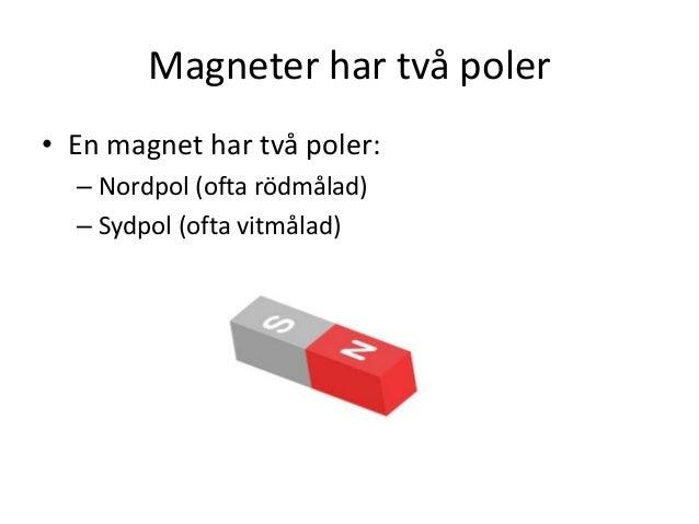 Magneter har två poler • En magnet har två poler: – Nordpol (ofta rödmålad) – Sydpol (ofta vitmålad)