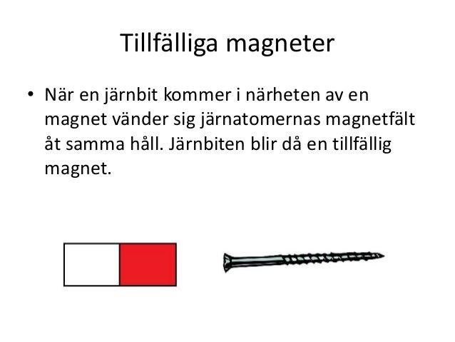 Tillfälliga magneter • När en järnbit kommer i närheten av en magnet vänder sig järnatomernas magnetfält åt samma håll. Jä...
