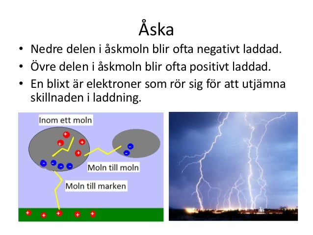 Åska • Nedre delen i åskmoln blir ofta negativt laddad. • Övre delen i åskmoln blir ofta positivt laddad. • En blixt är el...