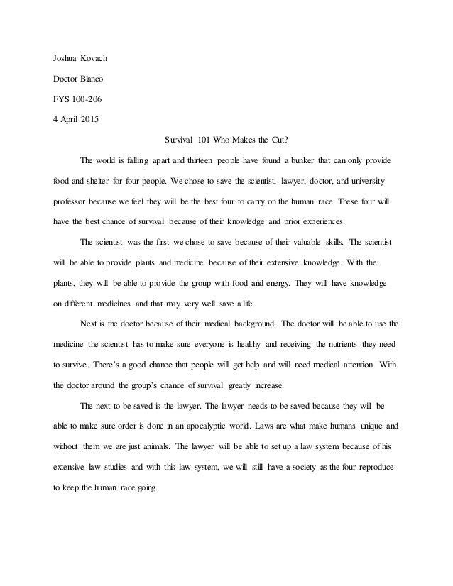 survival essay