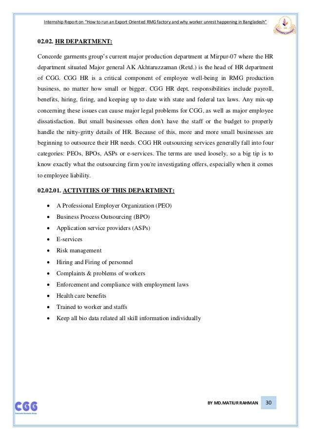 Internship report on garments