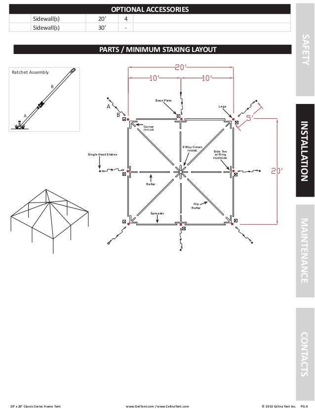 20 x 20 Frame Tent Installation Instructions