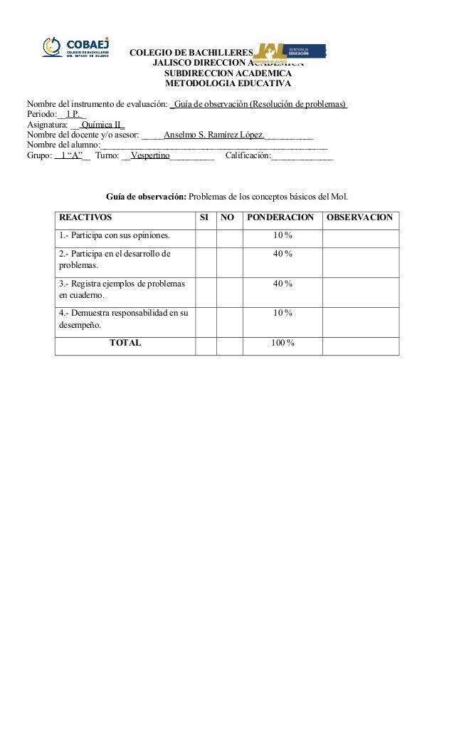 COLEGIO DE BACHILLERES DEL ESTADO DE JALISCO DIRECCION ACADEMICA SUBDIRECCION ACADEMICA METODOLOGIA EDUCATIVA Nombre del i...