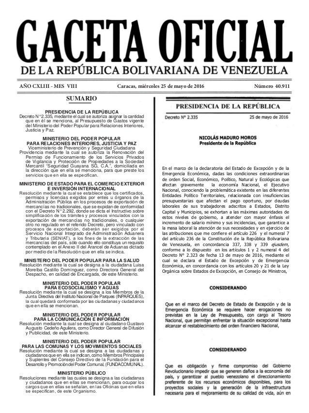 SUMARIO PRESIDENCIA DE LA REPÚBLICA Decreto N° 2.335, mediante el cual se autoriza asignar la cantidad que en él se mencio...