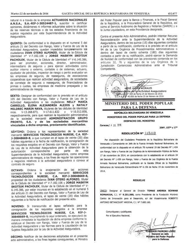 Martes 22 de noviembre de 2016 GACETA OFICIAL DE LA REPÚBLICA BOLIVARIANA DE VENEZUELA 432.077