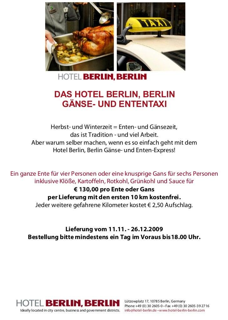 DAS HOTEL BERLIN, BERLIN                          GÄNSE- UND ENTENTAXI                Herbst- und Winterzeit = Enten- und ...