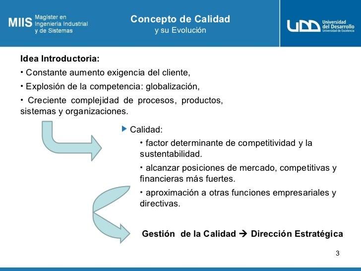 Concepto de Calidad                                   y su EvoluciónIdea Introductoria:• Constante aumento exigencia del c...