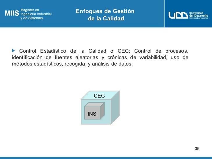 Enfoques de Gestión                             de la Calidad   Control Estadístico de la Calidad o CEC: Control de proces...