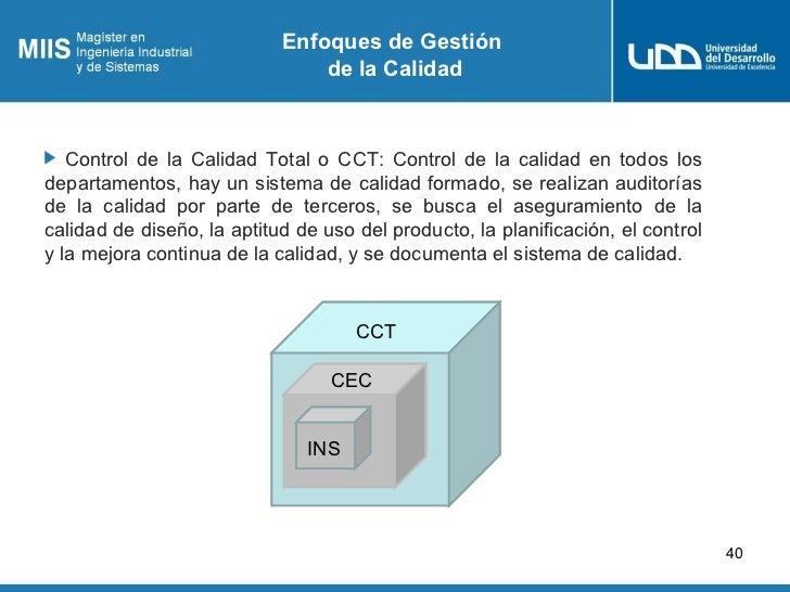 Enfoques de Gestión                                de la Calidad   Control de la Calidad Total o CCT: Control de la calida...