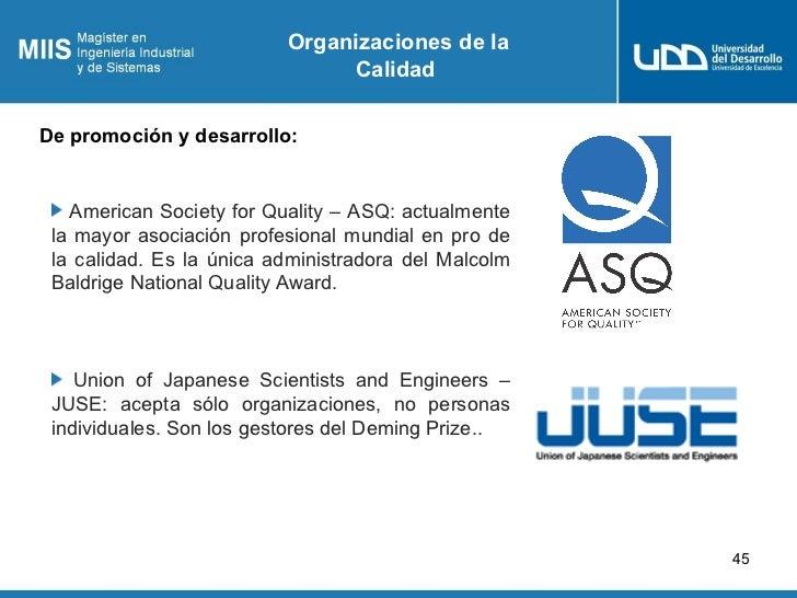 Organizaciones de la                               CalidadDe promoción y desarrollo:   American Society for Quality – ASQ:...
