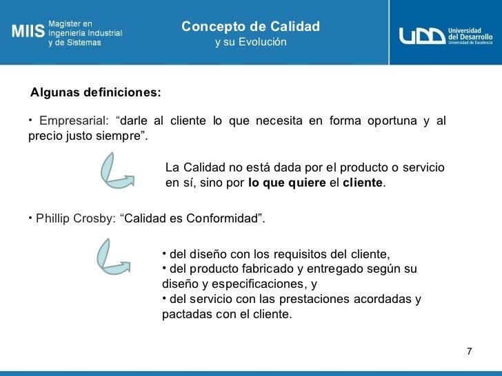 """Concepto de Calidad                                  y su EvoluciónAlgunas definiciones:• Empresarial: """"darle al cliente l..."""
