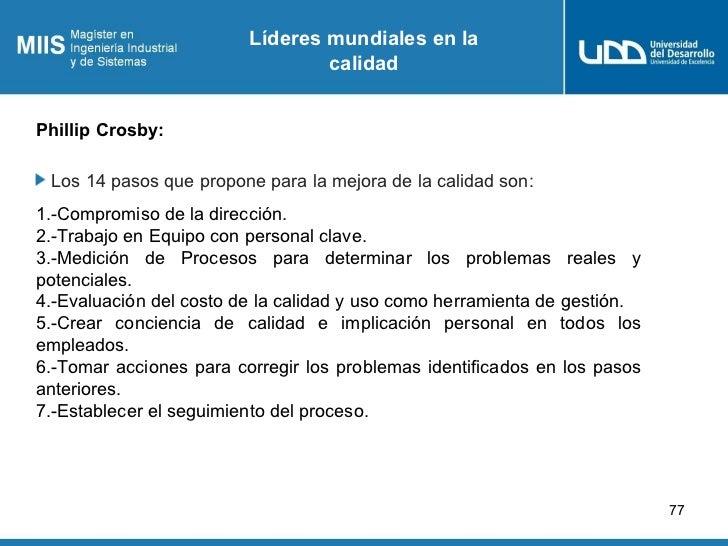 Líderes mundiales en la                                 calidadPhillip Crosby: Los 14 pasos que propone para la mejora de ...
