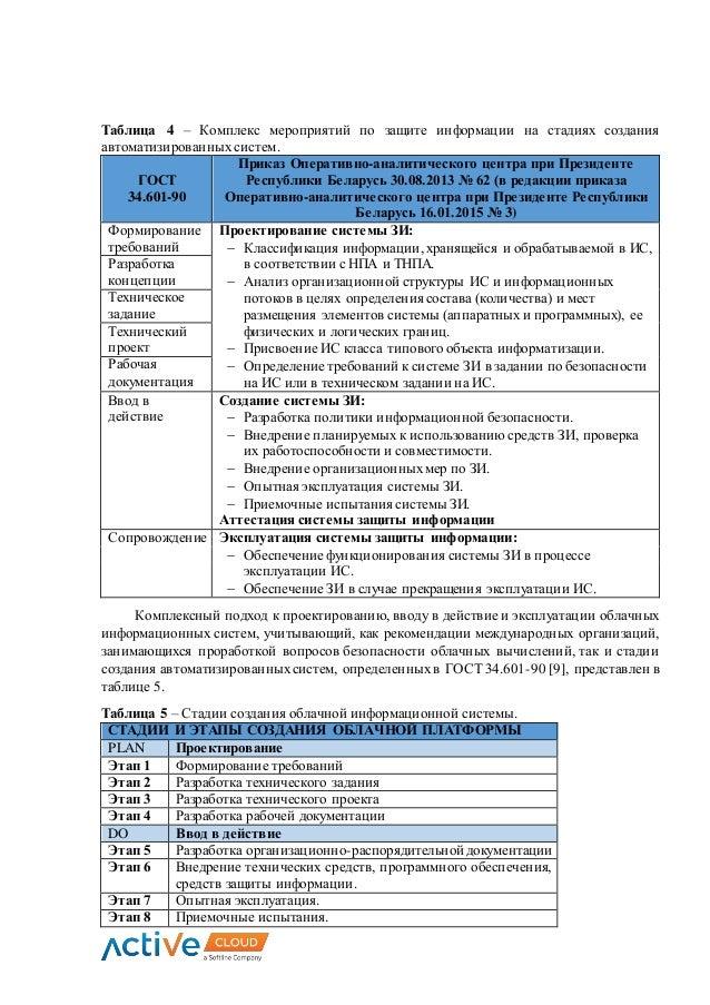 Таблица 4 – Комплекс мероприятий по защите информации на стадиях создания автоматизированных систем. ГОСТ 34.601-90 Приказ...