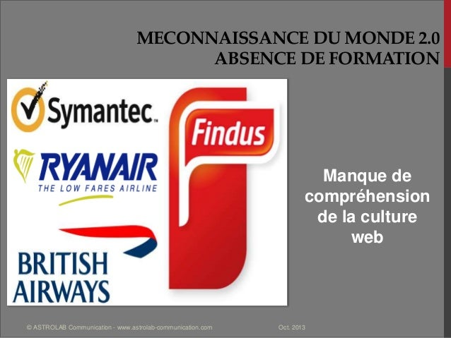 MECONNAISSANCE DU MONDE 2.0 ABSENCE DE FORMATION Manque de compréhension de la culture web Oct. 2013© ASTROLAB Communicati...
