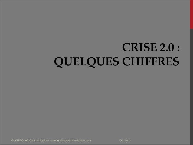 CRISE 2.0 : QUELQUES CHIFFRES Oct. 2013© ASTROLAB Communication - www.astrolab-communication.com