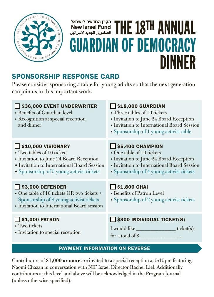 THE 18TH ANNUAL                            GUARDIAN OF DEMOCRACYSPONSORSHIP RESPONSE CARD                                 ...