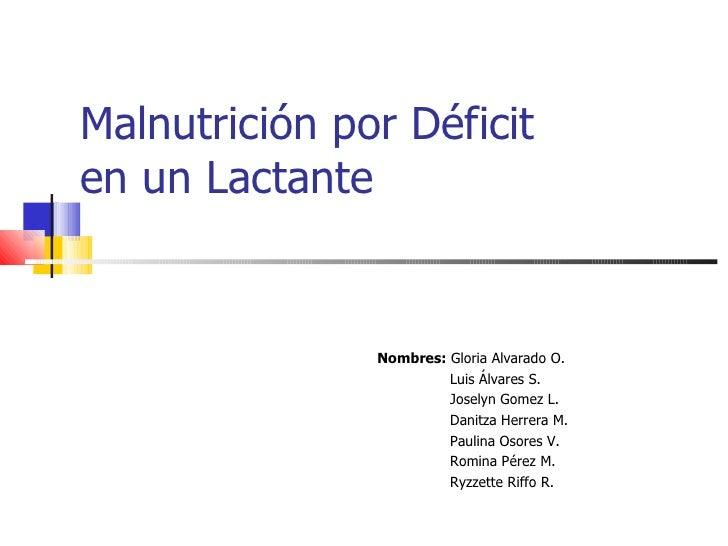 Malnutrición por Déficit  en un Lactante Nombres:  Gloria Alvarado O. Luis Álvares S. Joselyn Gomez L. Danitza Herrera M. ...