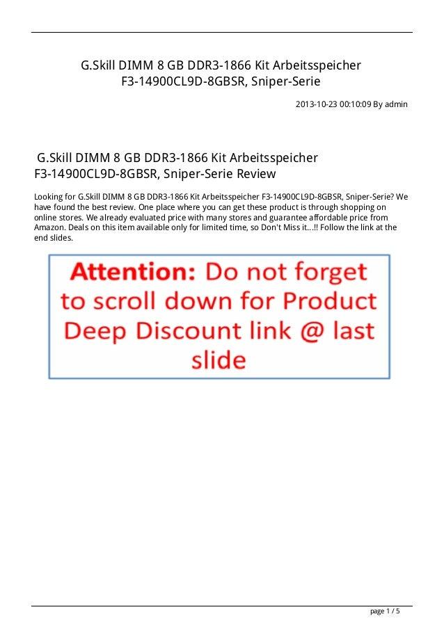 G.Skill DIMM 8 GB DDR3-1866 Kit Arbeitsspeicher F3-14900CL9D-8GBSR, Sniper-Serie 2013-10-23 00:10:09 By admin  G.Skill DIM...