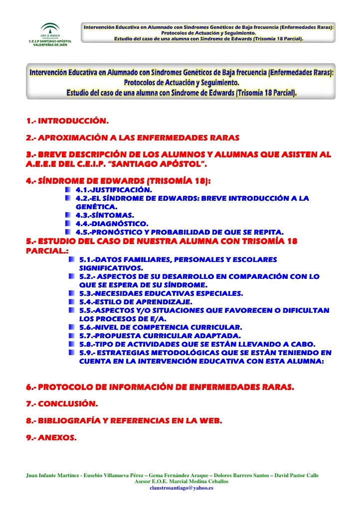 C.E.I.P SANTIAGO APÓSTOL    VALDEPEÑAS DE JAÉN1.-1.- INTRODUCCIÓN.2.-2.- APROXIMACIÓN A LAS ENFERMEDADES RARAS3.-3.- BREVE...