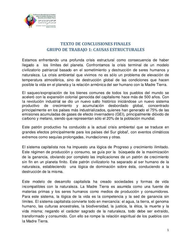 TEXTO DE CONCLUSIONES FINALES               GRUPO DE TRABAJO 1: CAUSAS ESTRUCTURALESEstamos enfrentando una profunda crisi...