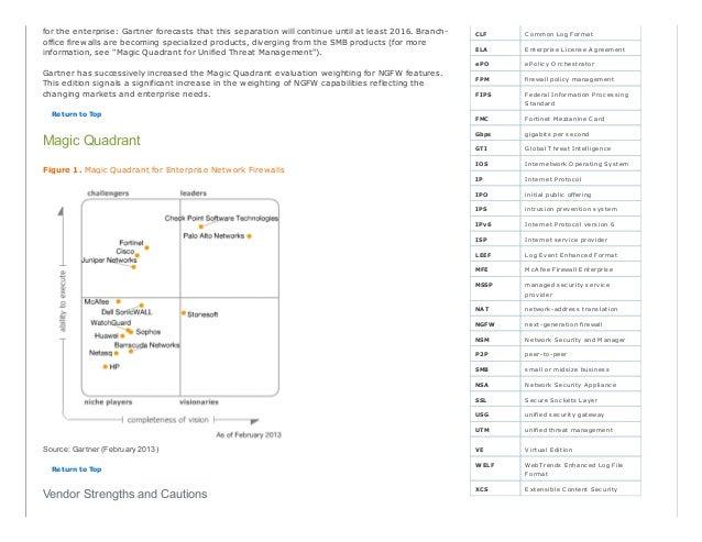 G02 2013 magic quadrant for enterprise network firewall