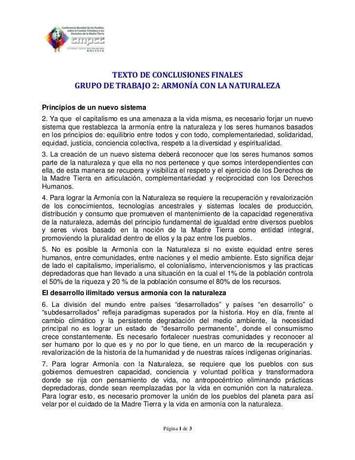 TEXTO DE CONCLUSIONES FINALES          GRUPO DE TRABAJO 2: ARMONÍA CON LA NATURALEZAPrincipios de un nuevo sistema2. Ya qu...