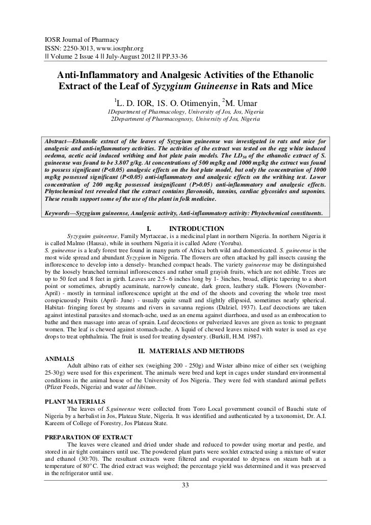 IOSR Journal of PharmacyISSN: 2250-3013, www.iosrphr.org‖‖ Volume 2 Issue 4 ‖‖ July-August 2012 ‖‖ PP.33-36     Anti-Infla...