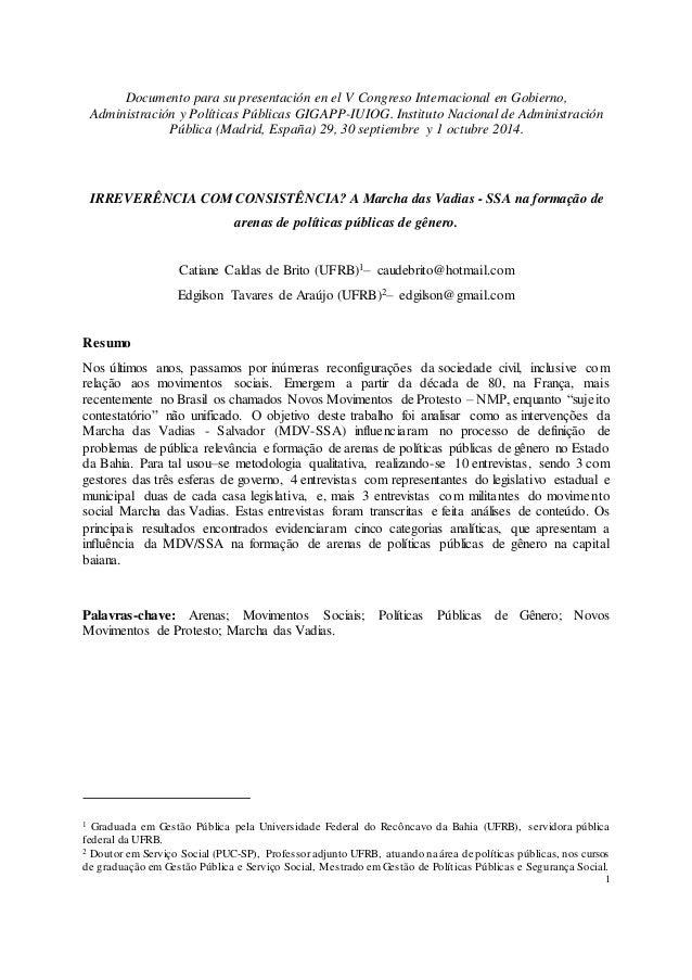 1 Documento para su presentación en el V Congreso Internacional en Gobierno, Administración y Políticas Públicas GIGAPP-IU...