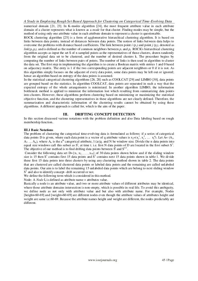 A Study in Employing Rough Set Based Approach for Clustering on Categorical Time-Evolving Data www.iosrjournals.org 45 | P...