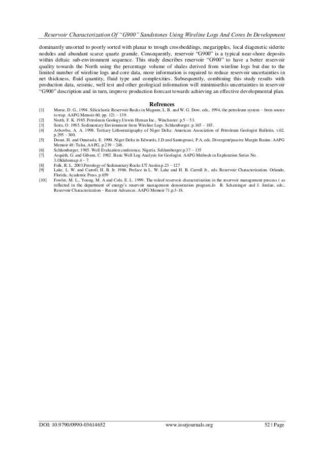 """Reservoir Characterization of """"G900"""" Sandstones Using Wireline Logs a…"""
