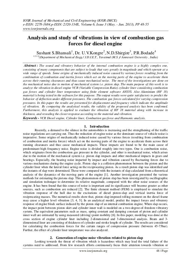 Analysis and study of vibrations in view of combustion gas