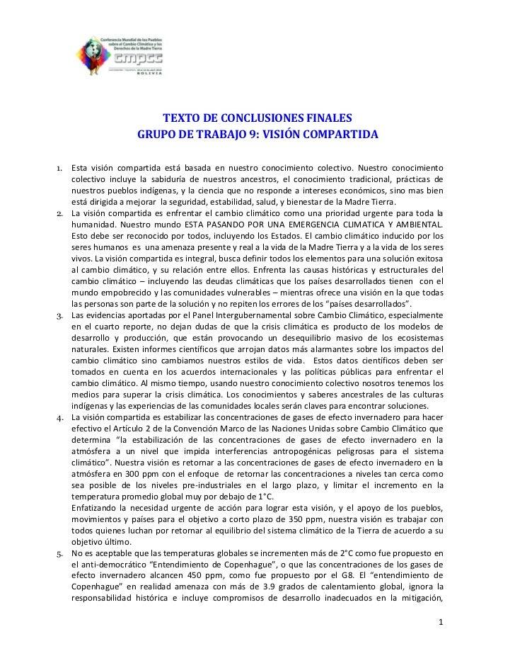 TEXTO DE CONCLUSIONES FINALES                      GRUPO DE TRABAJO 9: VISIÓN COMPARTIDA1.   Esta visión compartida está b...
