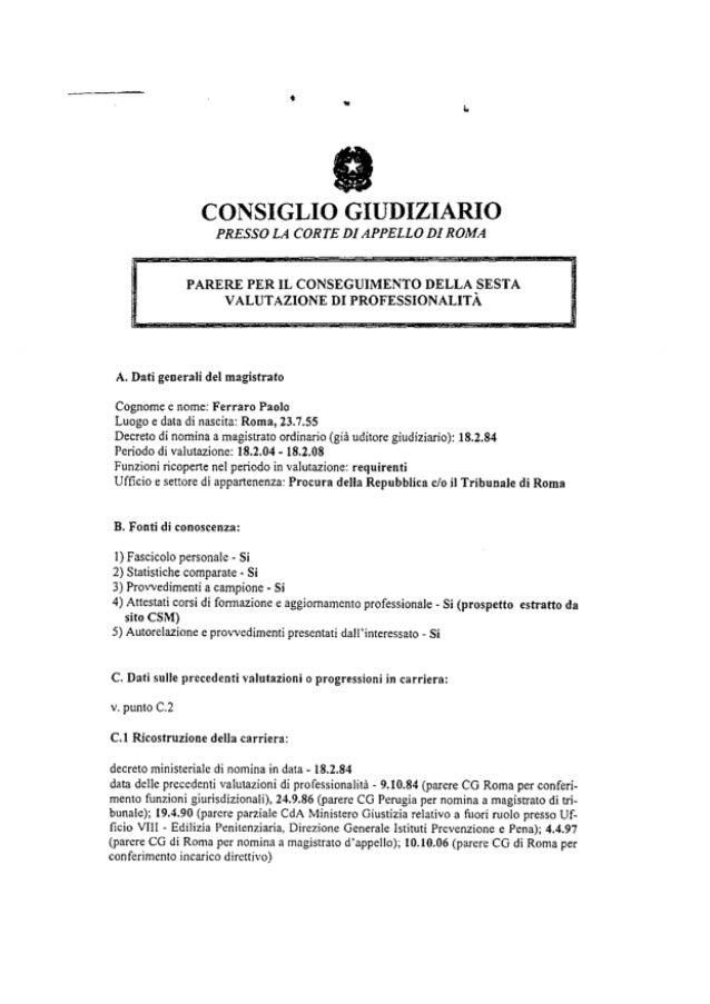 G0  nomina avanzamento di fascia del dott paolo ferraro deliberata nel 2012