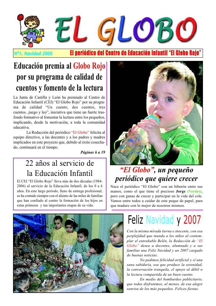 """Nº1, Navidad 2006                      El periódico del Centro de Educación Infantil """"El Globo Rojo""""  Educación premia al ..."""