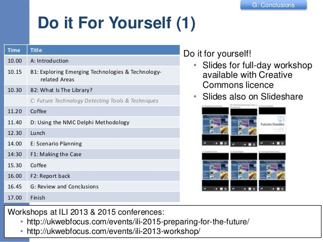 G: Conclusions Do it For Yourself (1) Do it for yourself! • Slides for full-day workshop available with Creative Commons l...
