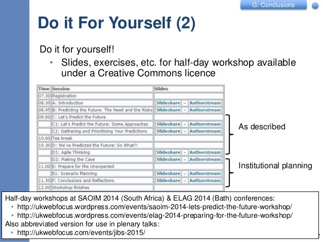 G: Conclusions Do it For Yourself (2) Do it for yourself! • Slides, exercises, etc. for half-day workshop available under ...