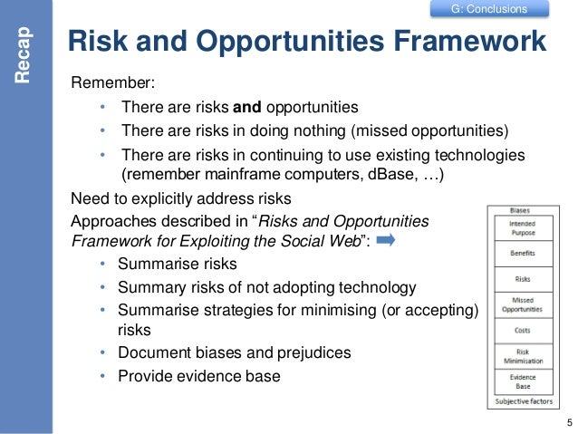 G: Conclusions Risk and Opportunities Framework Remember: • There are risks and opportunities • There are risks in doing n...