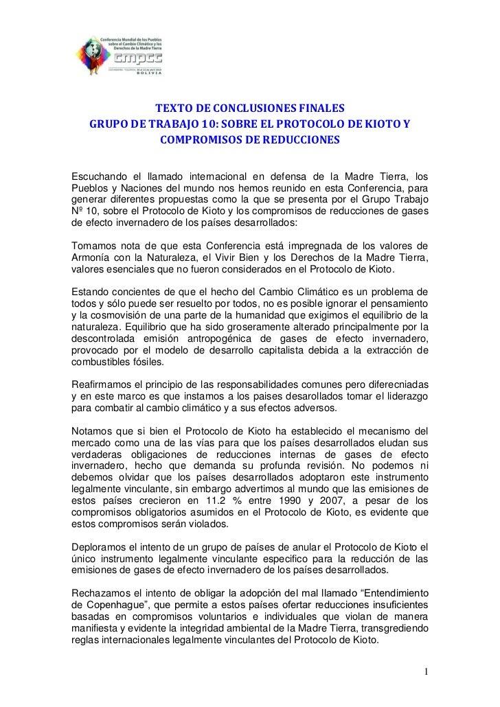 TEXTO DE CONCLUSIONES FINALES    GRUPO DE TRABAJO 10: SOBRE EL PROTOCOLO DE KIOTO Y               COMPROMISOS DE REDUCCION...