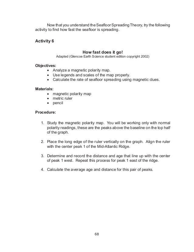 Sea Floor Spreading Worksheet Answer Key Pearson Education