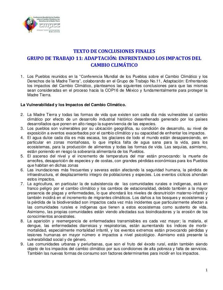 TEXTO DE CONCLUSIONES FINALES   GRUPO DE TRABAJO 11: ADAPTACIÓN: ENFRENTANDO LOS IMPACTOS DEL                          CAM...