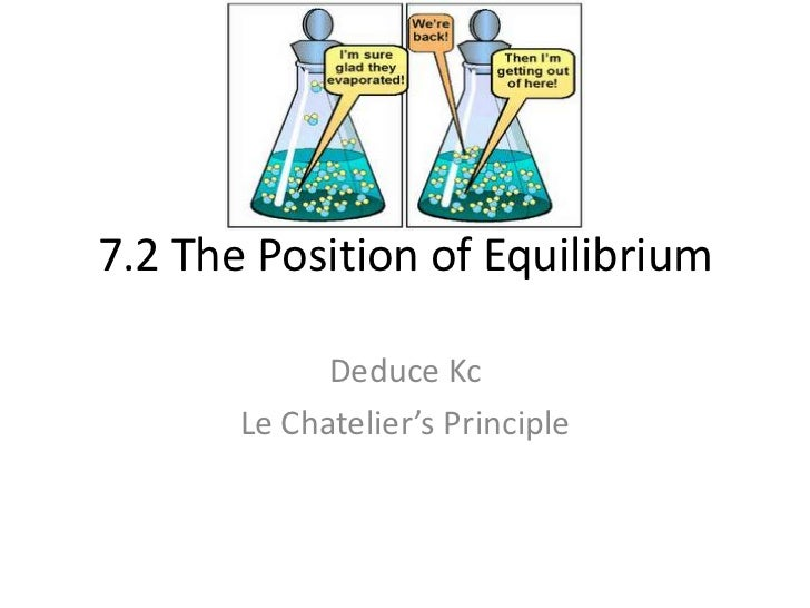 7.2 The Position of Equilibrium             Deduce Kc       Le Chatelier's Principle