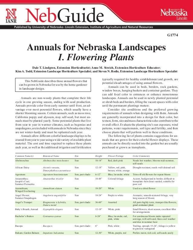 G1774             Annuals for Nebraska Landscapes                   I. Flowering Plants           Dale T. Lindgren, Extens...